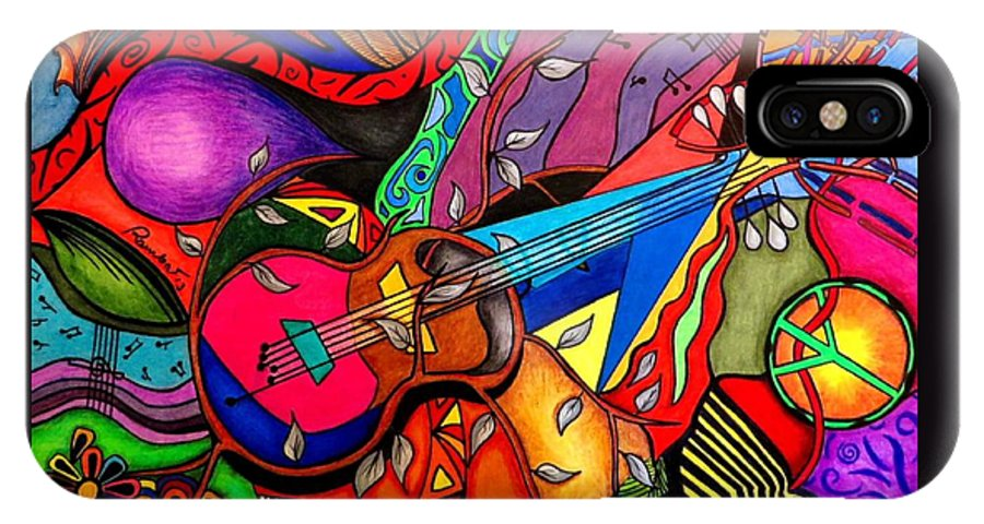 Guitar IPhone X Case featuring the painting Guitar by Rebeca Rambal