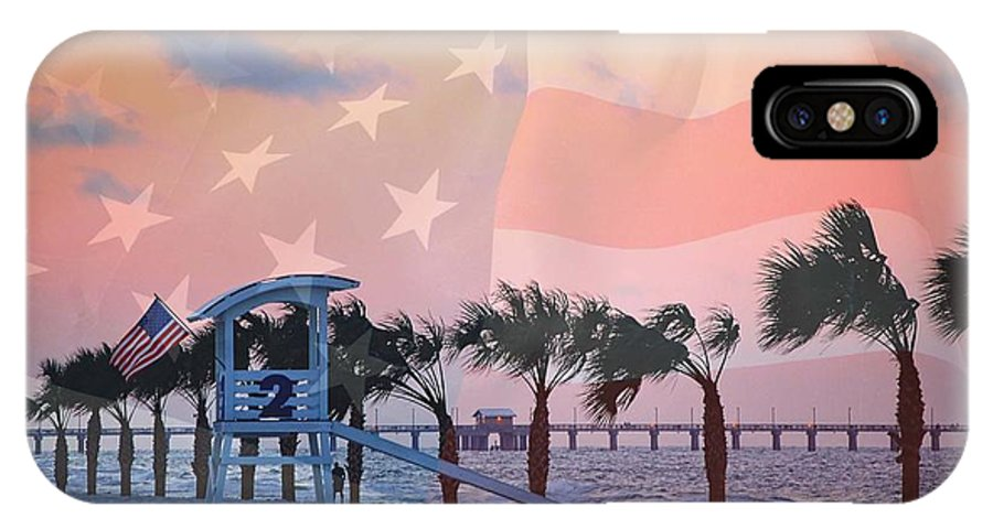 Alabama IPhone X Case featuring the digital art Gulf Shores Beach With Flag by Michael Thomas