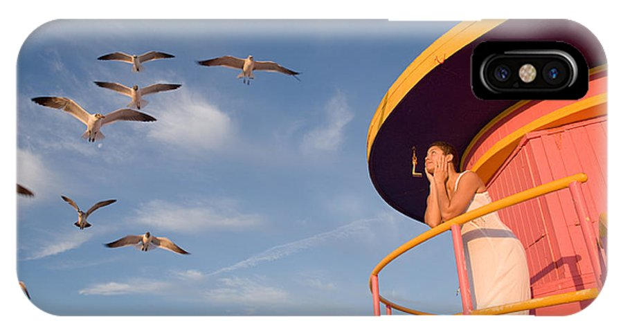 Gazing IPhone X / XS Case featuring the photograph Gull Watching by Matthew Pace
