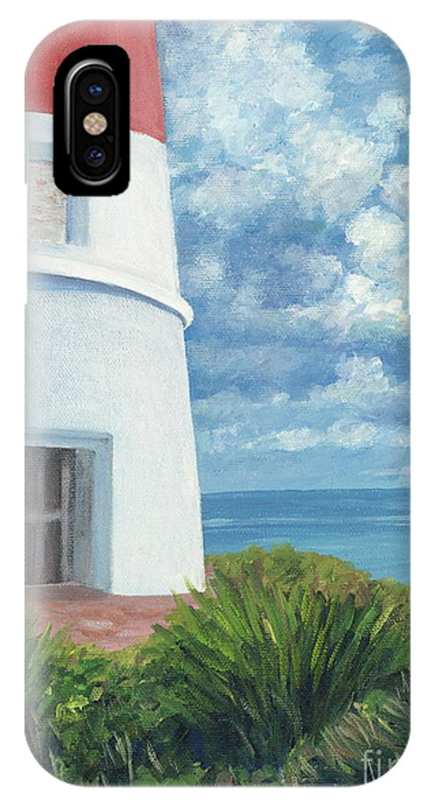 Seascape IPhone X Case featuring the painting Gun Cay Lighthouse by Danielle Perry