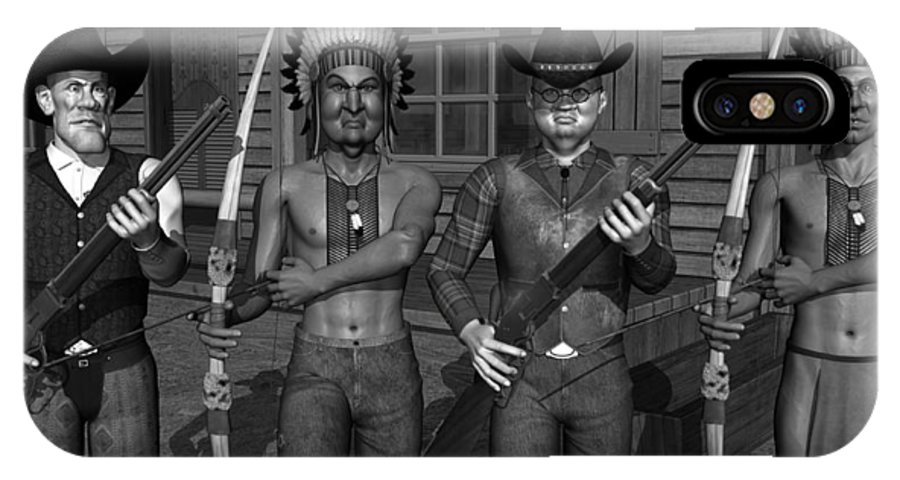 Gunfight IPhone X Case featuring the digital art Gunfight At The Okey Dokey Corral - Black And White by Robert Crepeau