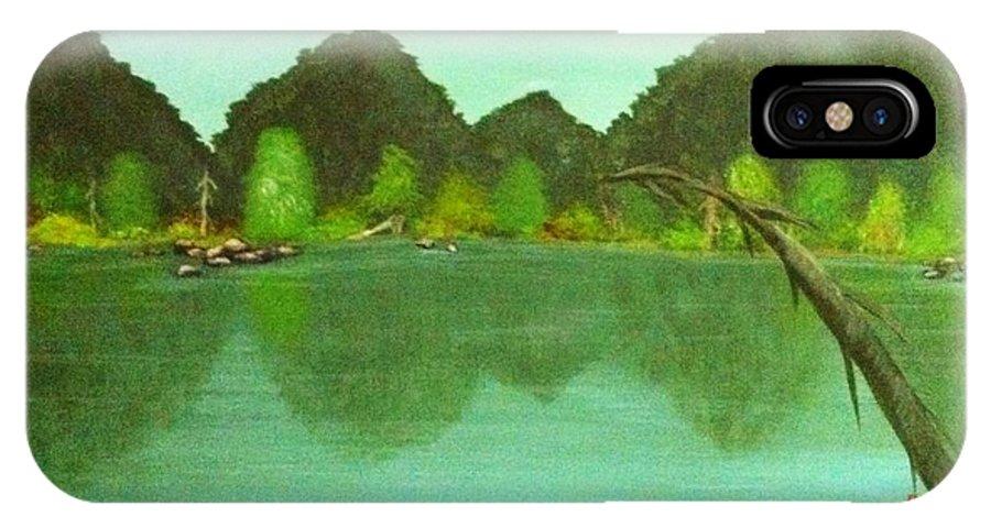 Landscape IPhone X Case featuring the painting Guntersville Lake by Wanda Lane