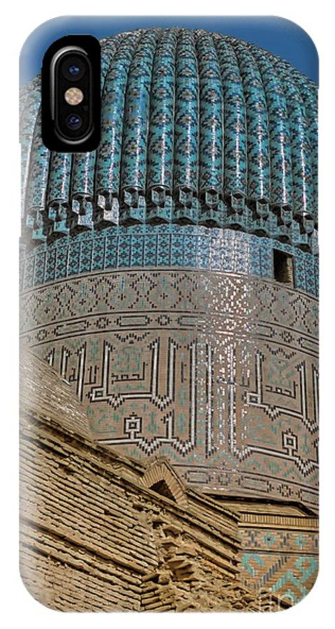 Timur IPhone X Case featuring the photograph Gur Emir - Samarkand by Nigel Fletcher-Jones