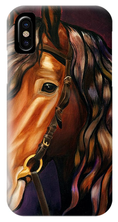 Horse IPhone X Case featuring the painting Gypsy Vanner by Emma Caldwell