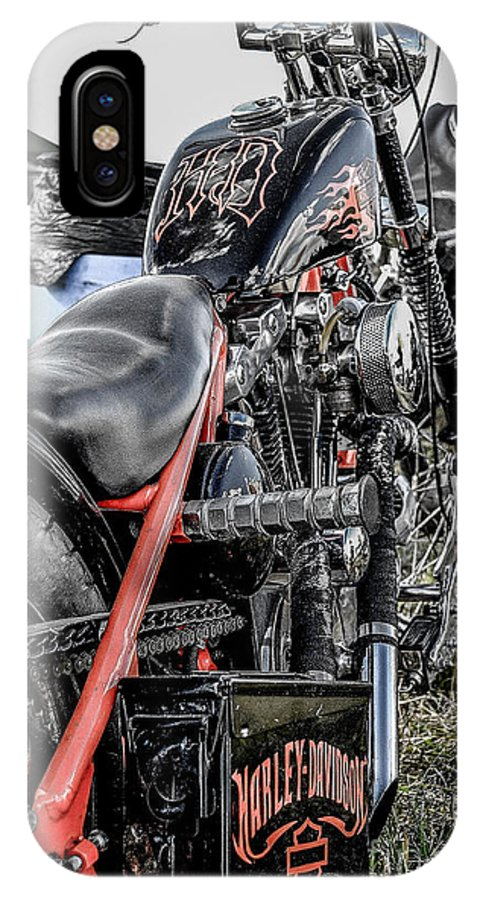 Motorcycle IPhone X Case featuring the photograph H D by Christopher Biggers