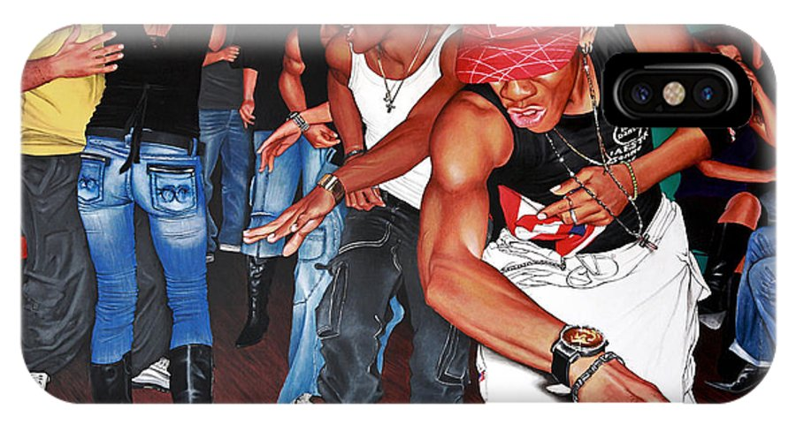 Cubani-scena Urbana-reggaeton IPhone X Case featuring the painting H34-2 by Patrizia Montegrande