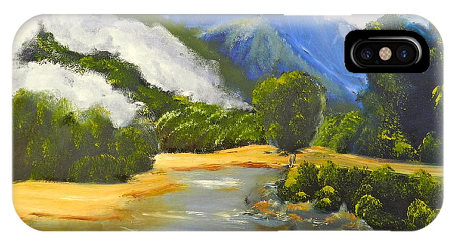 Impressionism IPhone X Case featuring the painting Haast River New Zealand by Pamela Meredith