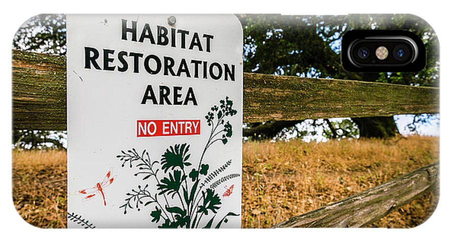 Windsor IPhone X Case featuring the photograph Habitat Restoration Area Sign In Shiloh by Ron Koeberer