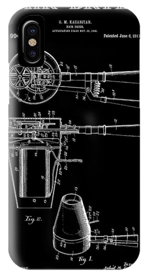 Hairdyer IPhone X Case featuring the digital art Hair Dryer 2 Patent Art 1911 by Daniel Hagerman