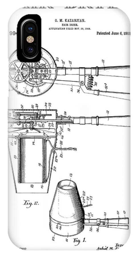 Hairdyer IPhone X Case featuring the digital art Hair Dryer 3 Patent Art 1911 by Daniel Hagerman