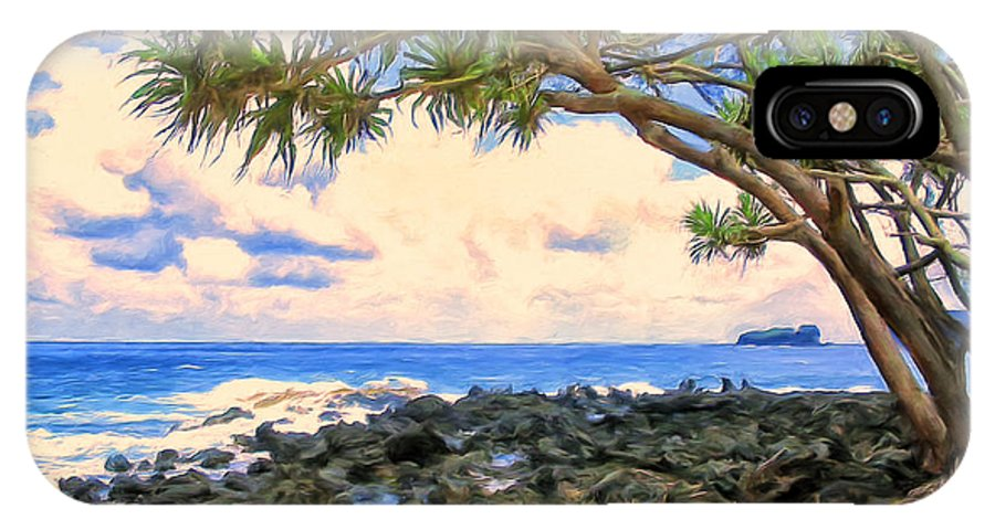 Hawaii IPhone X / XS Case featuring the painting Hala Trees At Ka'anae Point by Dominic Piperata
