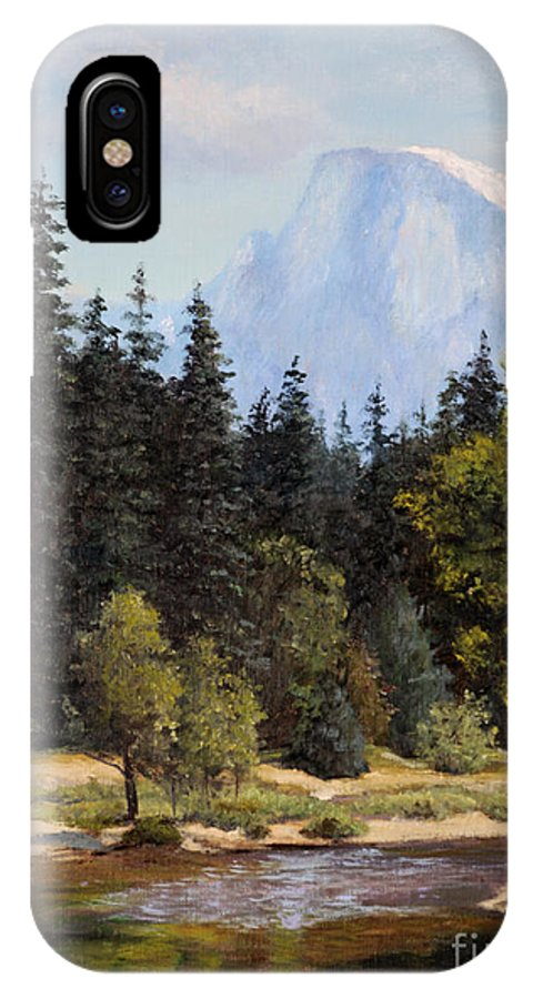 Oil Painting IPhone X Case featuring the painting Half Dome by Irene Leach