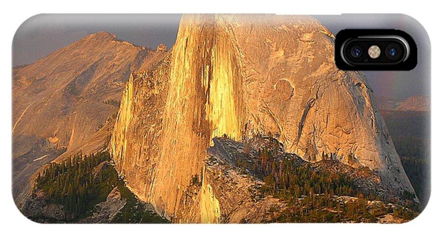 Rainbow IPhone X Case featuring the photograph Half Dome Rainbow by Barbara Stellwagen
