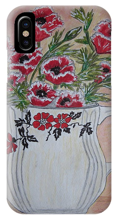 Hall China IPhone Case featuring the painting Hall China Red Poppy And Poppies by Kathy Marrs Chandler