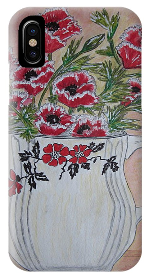 Hall China IPhone X Case featuring the painting Hall China Red Poppy And Poppies by Kathy Marrs Chandler