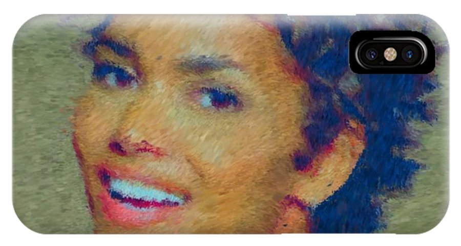 Black African American Actress Actor Halle Berry IPhone X Case featuring the digital art Halle Berry by John Dunigan