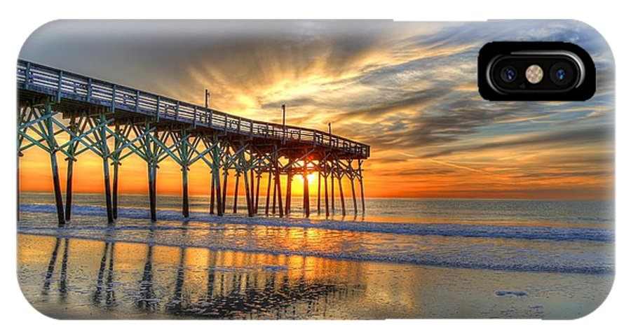 Sunrise IPhone X Case featuring the photograph Halo Pier Sunrise by Robbie Bischoff