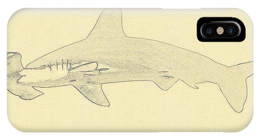 Hammerhead Shark Illustration IPhone X Case featuring the digital art Hammerhead Shark Illustration by Wernher Krutein