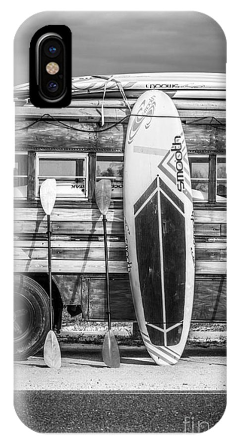 Hang Ten - Vintage Woodie Surf Bus - Florida - Black And White IPhone X Case