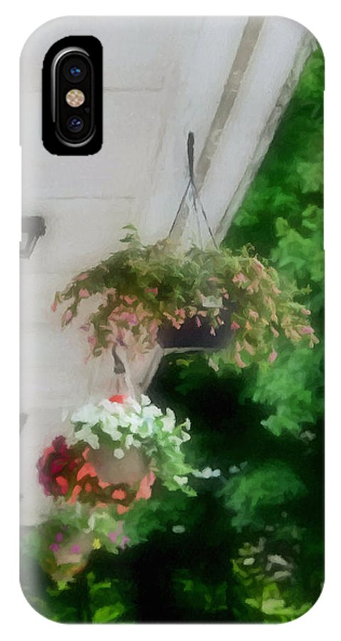 Agricultural IPhone X Case featuring the painting Hanging Flower Baskets On A Porch by Jeelan Clark