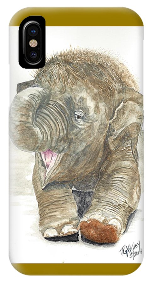 Animals IPhone X Case featuring the painting Happy Baby Elephant by Toni Willey