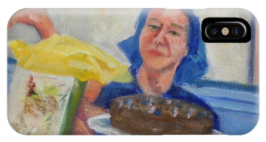 Cake IPhone X Case featuring the painting Happy Birthday by Bonnie Wilber