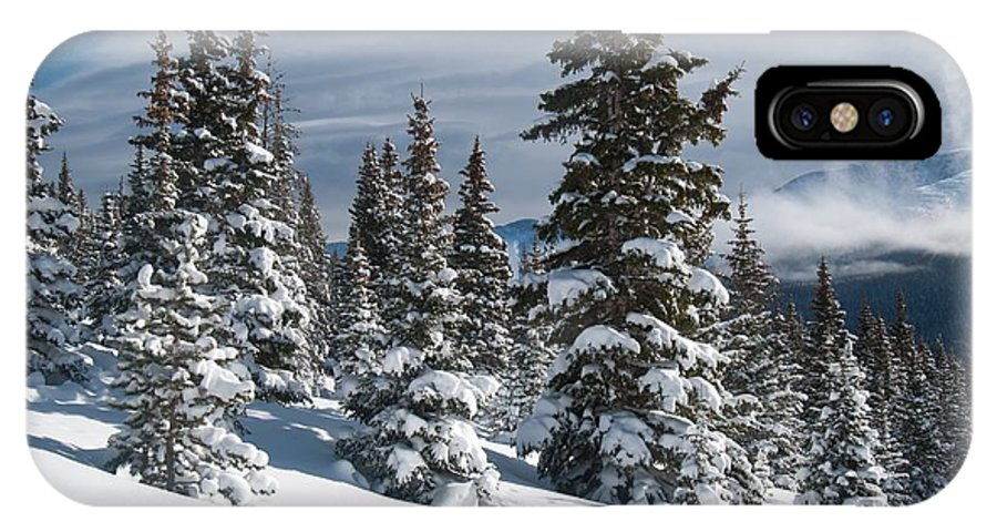 Happy Holidays IPhone X Case featuring the photograph Happy Holidays - Winter Trees And Rising Clouds by Cascade Colors