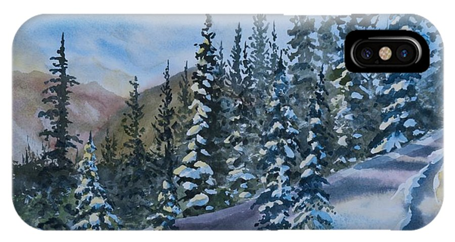 Happy Holidays IPhone X Case featuring the painting Happy Holidays Forest And Mountains by Cascade Colors