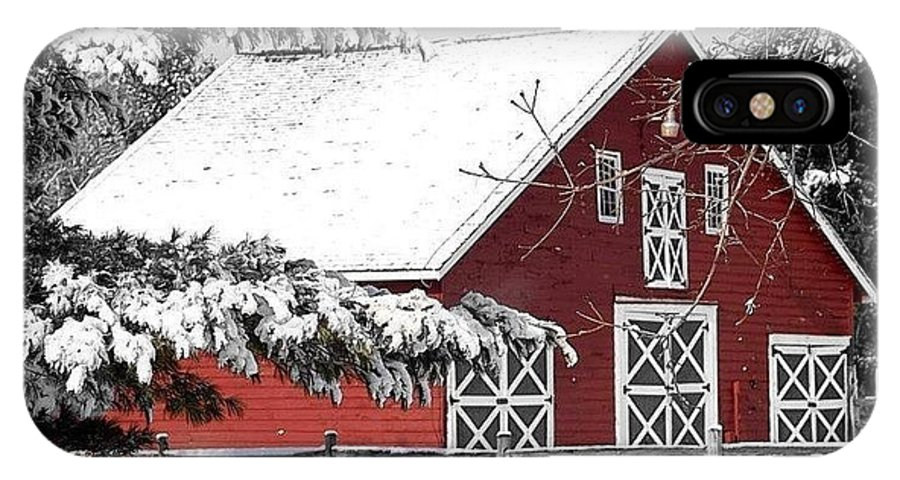 Red Barn IPhone X Case featuring the photograph Happy Holidays by Living Color Photography Lorraine Lynch