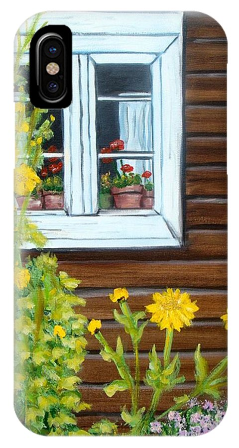 Window IPhone X Case featuring the painting Happy Homestead by Laurie Morgan