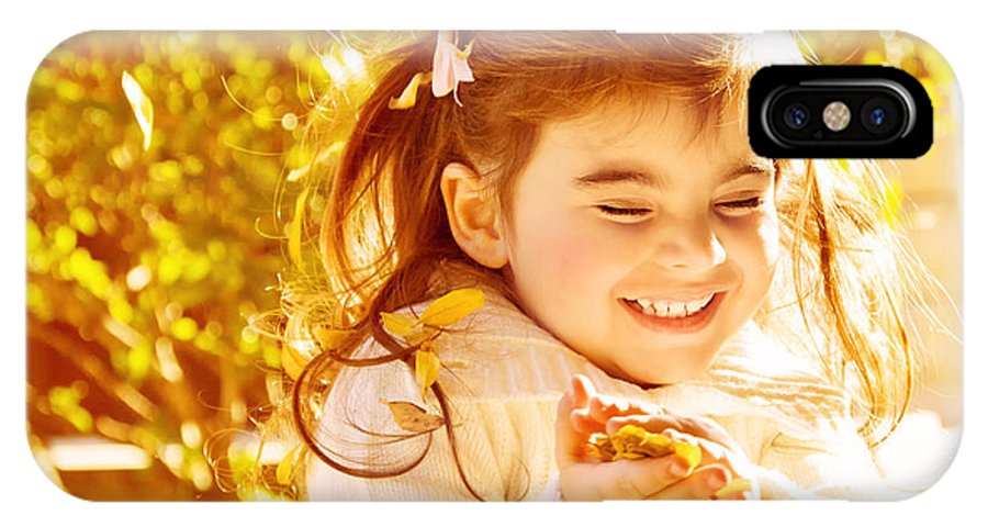 Adorable IPhone X Case featuring the photograph Happy Little Girl In Autumn Park by Anna Om
