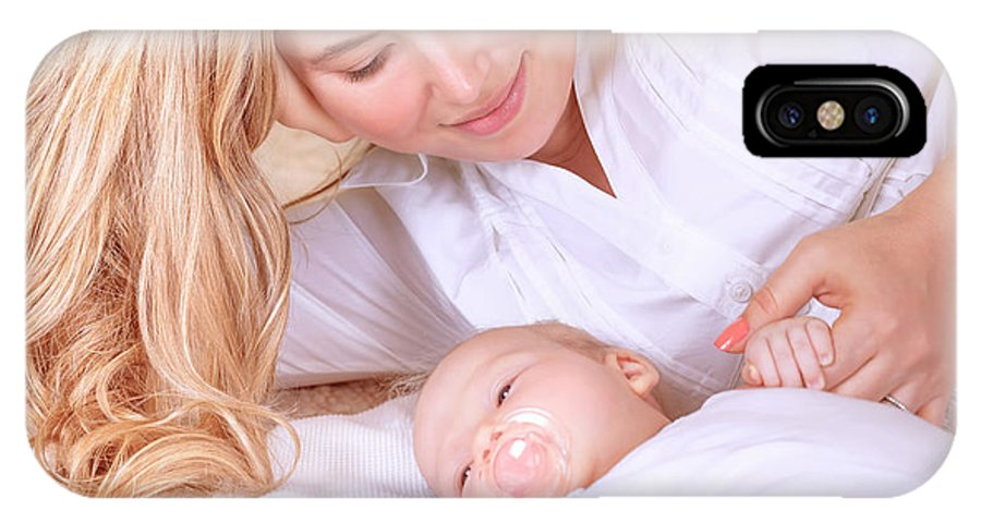 Adorable IPhone X Case featuring the photograph Happy Mother With Newborn Baby by Anna Om