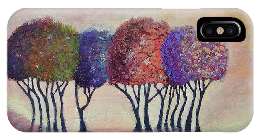 Trees IPhone X Case featuring the painting Happy Trees To You by Jan Reid