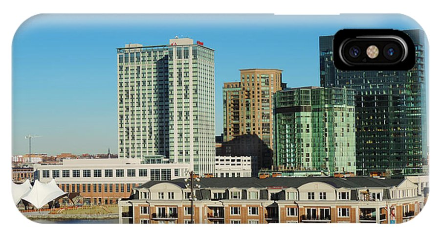 American Architecture Baltimore Bay Beach Bird Boat Building Busy Cars Center City Cityscape Constellation Day District Downtown Famous Federal Harbor Hill History Inner Lake Landmark Landscape Light Maryland Metropolis Metropolitan Old Pit Ripples Sail Sand Ship Sky Skyline Skyscraper States Street Tourism Town Trade Traffic Travel United Urban Usa Uss Water Winter World East IPhone X Case featuring the photograph Harbor East Complex In Baltimore From Federal Hill by Cityscape Photography