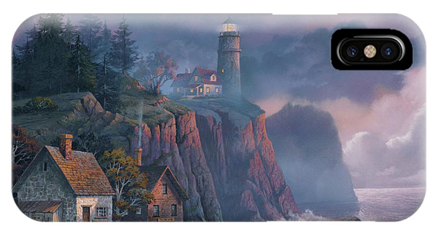 Michael Humphries IPhone X Case featuring the painting Harbor Light Hideaway by Michael Humphries