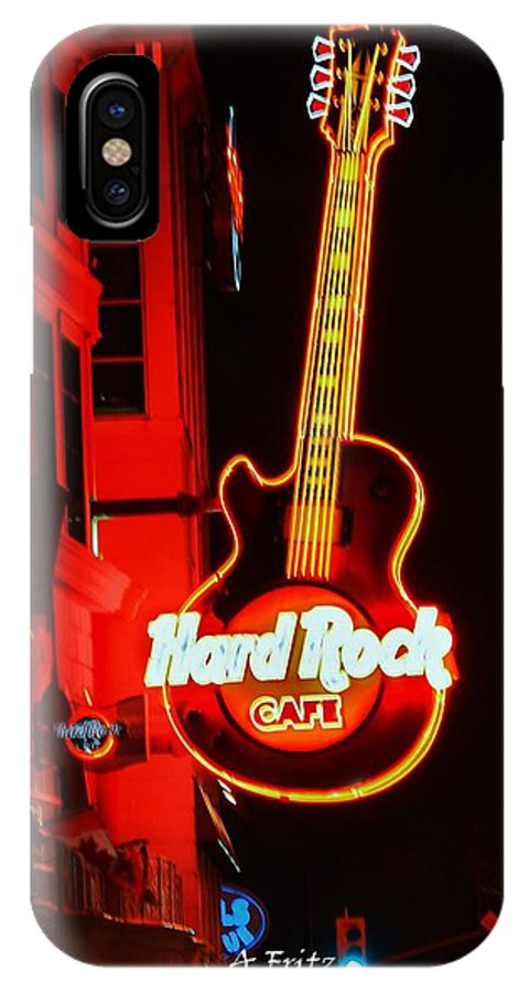 Night Life IPhone X Case featuring the photograph Hard Rock Cafe' by Al Fritz