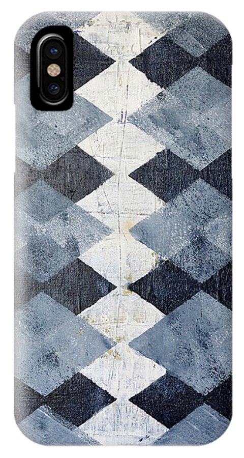 Blue IPhone X Case featuring the painting Harlequin Series 1 by Julie Niemela