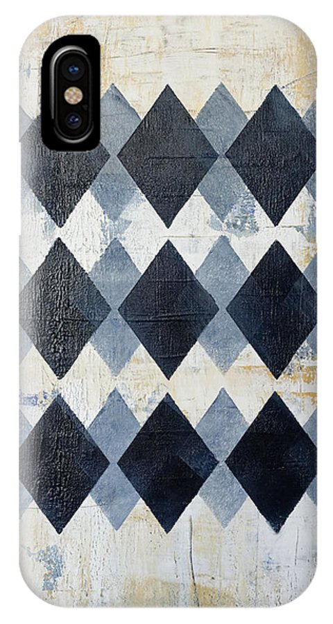 Blue IPhone X Case featuring the painting Harlequin Series 3 by Julie Niemela