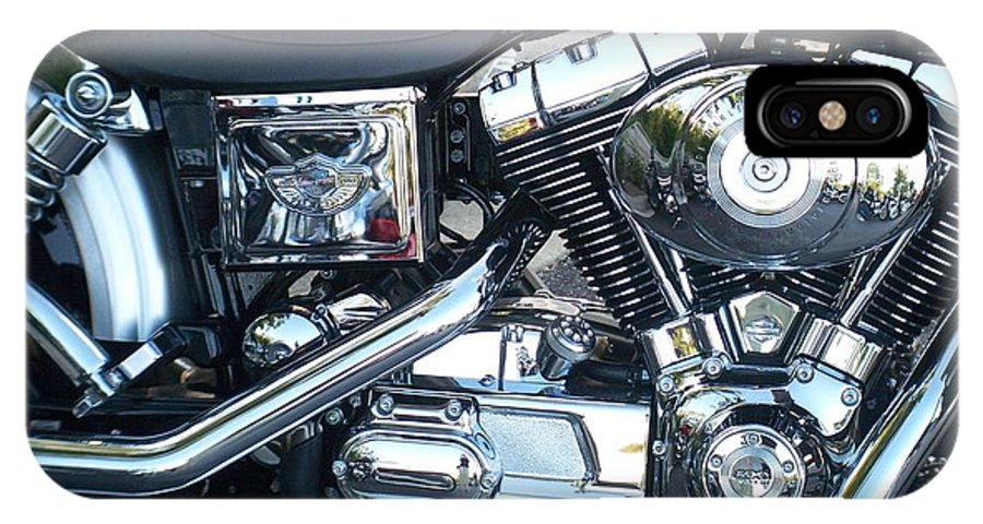 Motorcycles IPhone Case featuring the photograph Harley Black And Silver Sideview by Anita Burgermeister