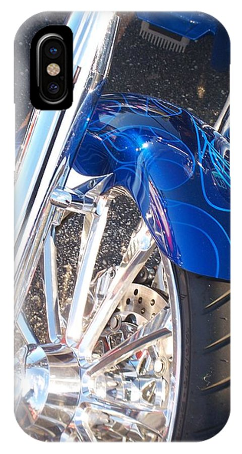 Motorcycles IPhone Case featuring the photograph Harley Close-up Blue Flame by Anita Burgermeister