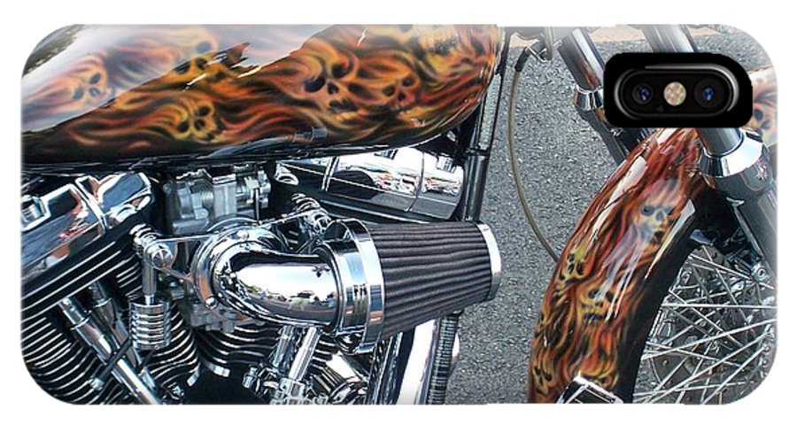 Motorcycles IPhone X Case featuring the photograph Harley Close-up Skull Flame by Anita Burgermeister