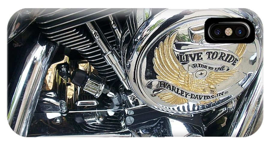 Motorcycles IPhone X Case featuring the photograph Harley Live To Ride by Anita Burgermeister