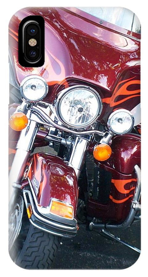 Motorcycles IPhone Case featuring the photograph Harley Red W Orange Flames by Anita Burgermeister