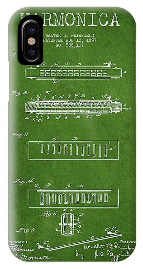 Harmonica IPhone X Case featuring the digital art Harmonica Patent Drawing From 1897 - Green by Aged Pixel