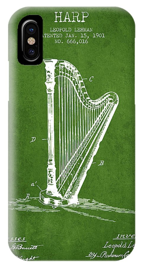 Harp IPhone X Case featuring the digital art Harp Music Instrument Patent From 1901 - Green by Aged Pixel