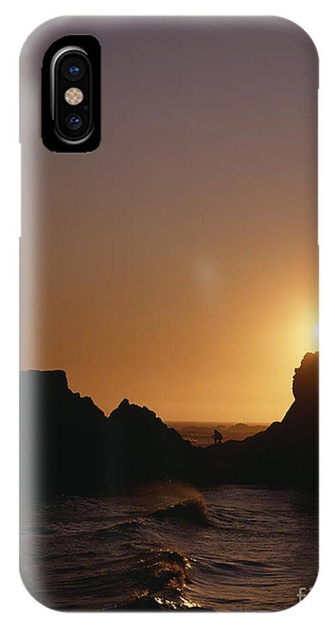 Americana IPhone X Case featuring the photograph Harris Beach State Park Oregon Fisherman by Jim Corwin