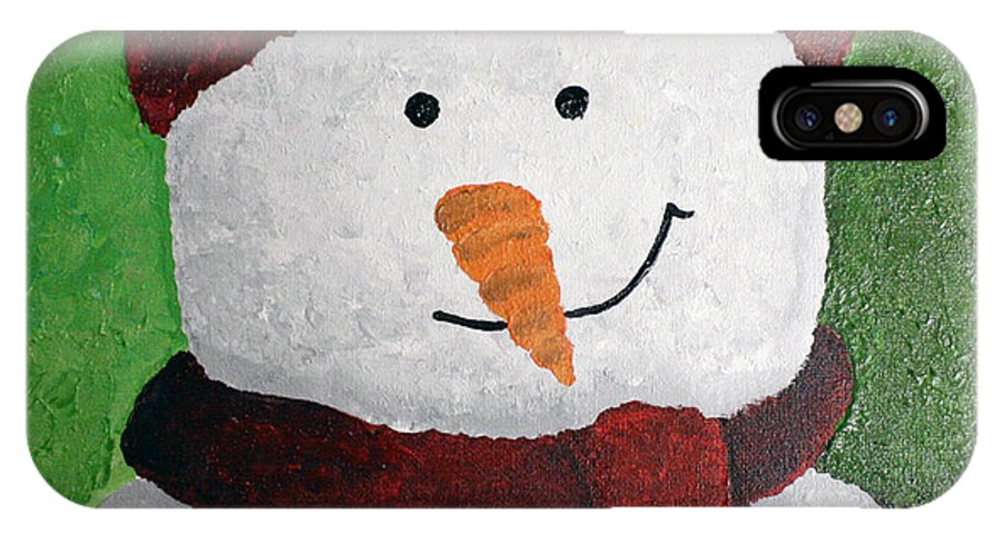 Snowmen IPhone X / XS Case featuring the painting Harry The Snowman by Wendy May