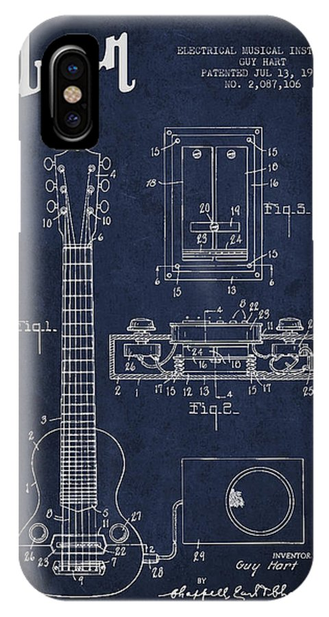 Gibson IPhone X Case featuring the digital art Hart Gibson Electrical Musical Instrument Patent Drawing From 19 by Aged Pixel