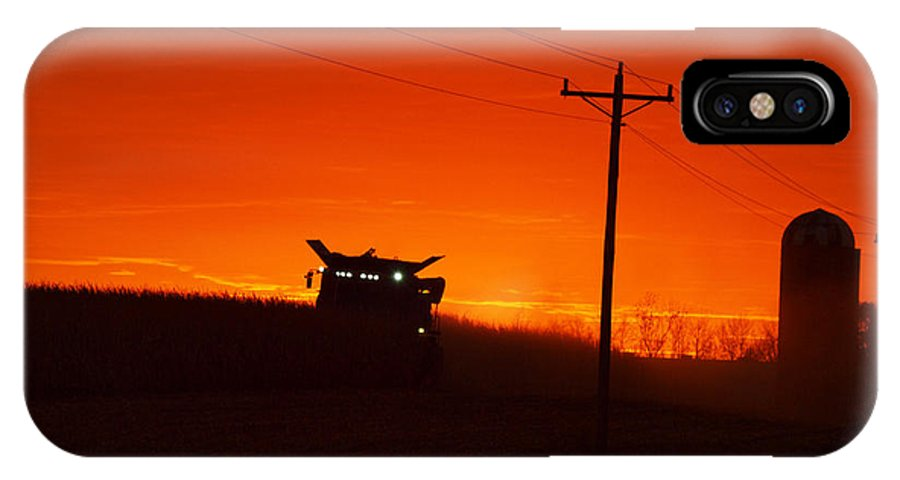 Sunset IPhone X Case featuring the photograph Harvest At Sunset by Rural America Scenics