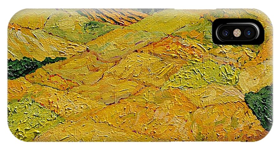 Landscape IPhone X Case featuring the painting Harvest Joy by Allan P Friedlander